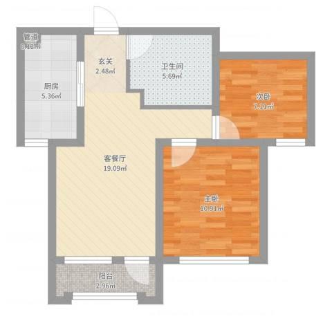中体奥林匹克花园 天颐居2室2厅1卫1厨64.00㎡户型图