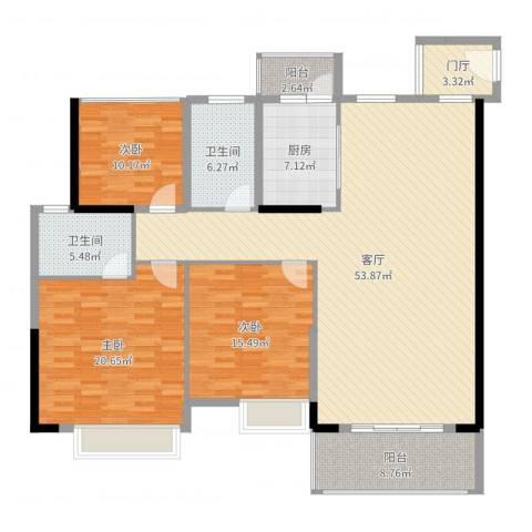 乐从钜隆风度广场3室1厅2卫1厨167.00㎡户型图