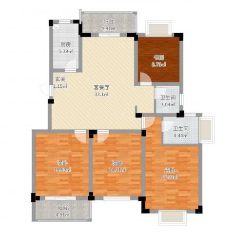 高尔夫家园4室2厅2卫1厨140.00㎡户型图