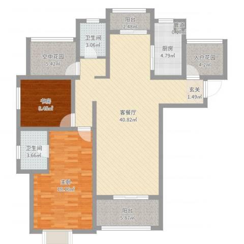 海亮悦府2室2厅2卫1厨121.00㎡户型图
