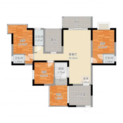 和瑞深圳青年4室2厅3卫1厨137.00㎡户型图