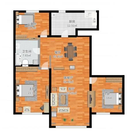 昆仑唐人中心3室2厅1卫1厨151.00㎡户型图