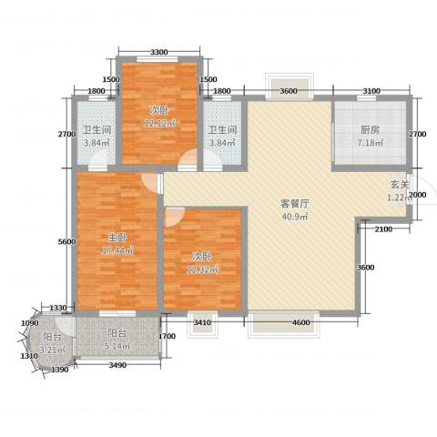 骏景园3室2厅2卫1厨142.00㎡户型图