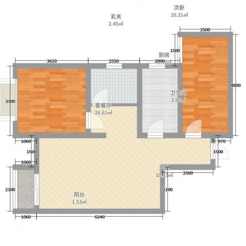 英伦假日2室2厅1卫1厨87.00㎡户型图