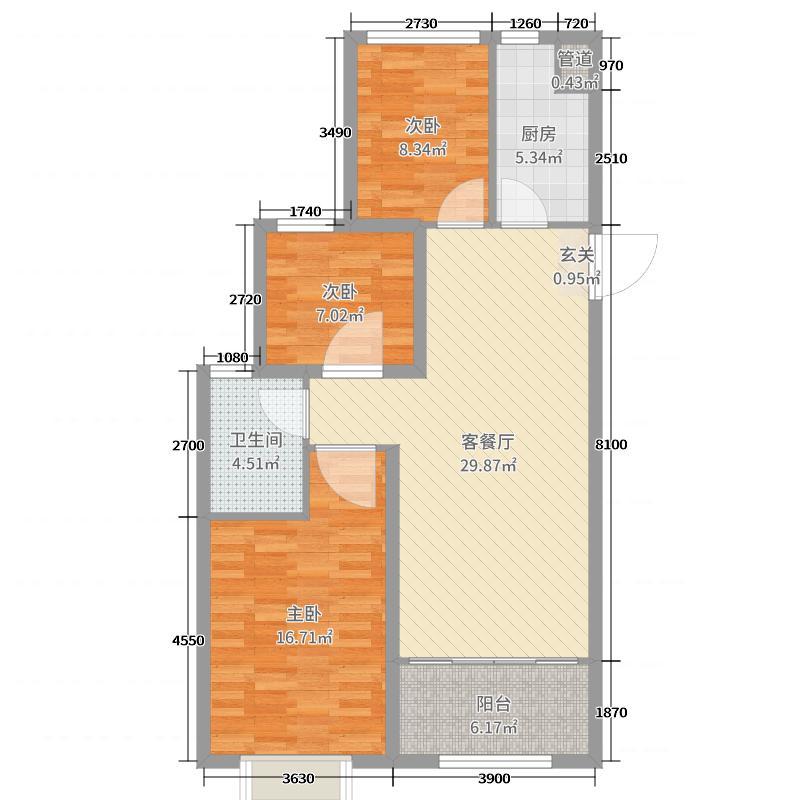 恒大世纪广场98.00㎡15#楼4号户型3室3厅1卫1厨
