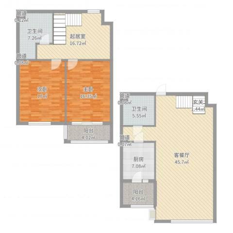 赋海世家2室2厅2卫1厨155.00㎡户型图