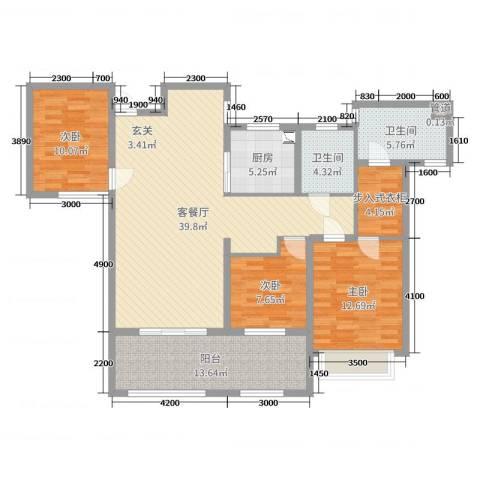 宣佳世纪嘉园3室2厅2卫1厨139.00㎡户型图