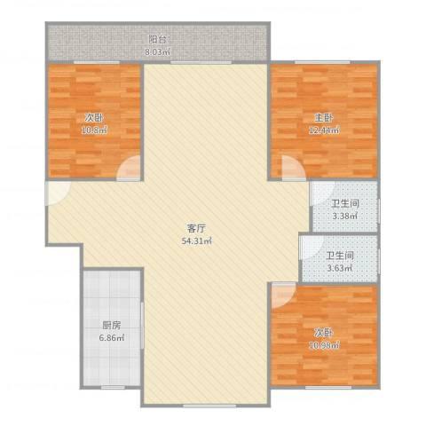 梅陇世纪苑3室1厅2卫1厨138.00㎡户型图