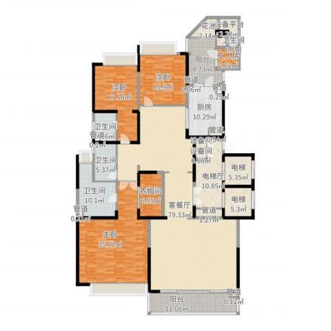 恒大绿洲3室2厅4卫1厨337.00㎡户型图