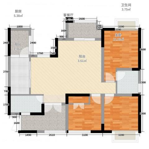 九鼎御江山3室2厅2卫1厨107.00㎡户型图