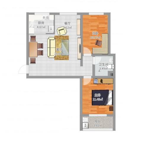 康和苑2室1厅1卫1厨79.00㎡户型图