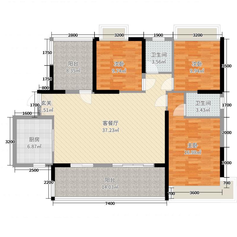 东部美的城136.00㎡I户型3室3厅2卫1厨