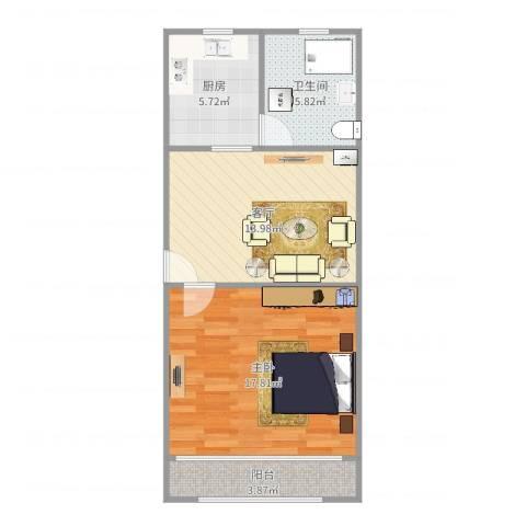 芳华路580弄小区1室1厅1卫1厨59.00㎡户型图