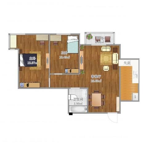 龙康新苑201082室2厅1卫1厨83.00㎡户型图