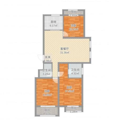 乐亭水韵名居3室2厅2卫1厨117.00㎡户型图