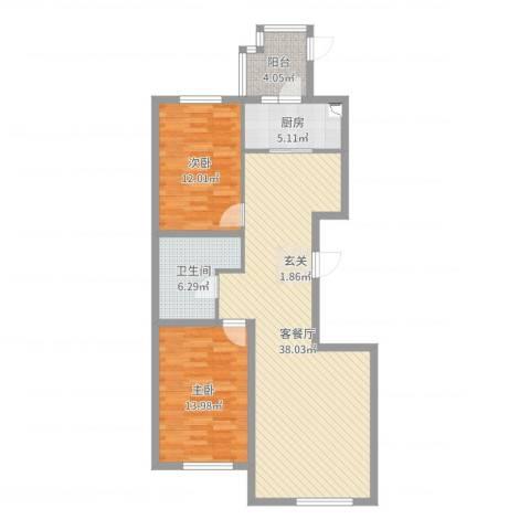 宝地・曼哈顿E区2室2厅1卫1厨99.00㎡户型图