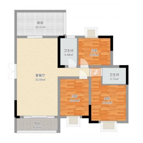 远大生态风景3室2厅2卫1厨112.00㎡户型图