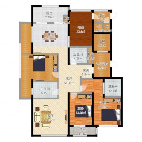 前程藏珑3室1厅3卫1厨198.00㎡户型图