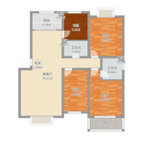 金鑫・盐湖城4室2厅2卫1厨104.63㎡户型图