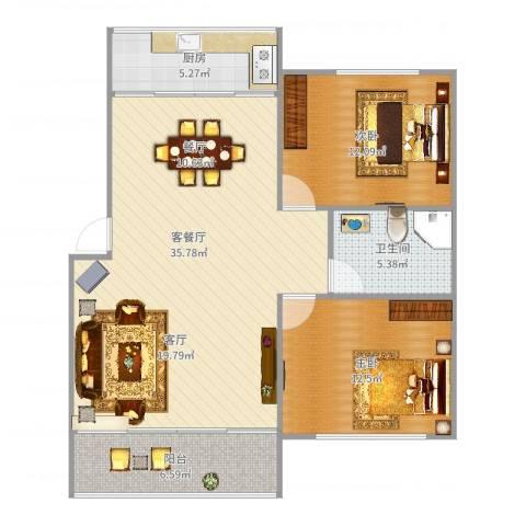 逸东花园2室2厅1卫1厨97.00㎡户型图