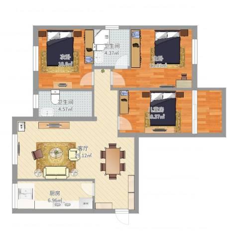 红光翠景苑3室1厅2卫1厨103.00㎡户型图