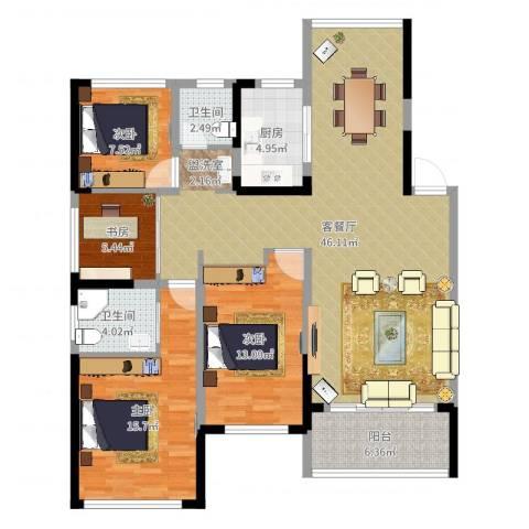 卓锦兰香4室2厅2卫1厨132.00㎡户型图