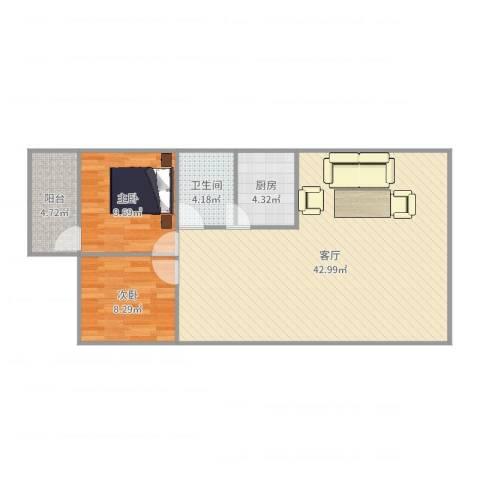 竹苑新村2室1厅1卫1厨93.00㎡户型图