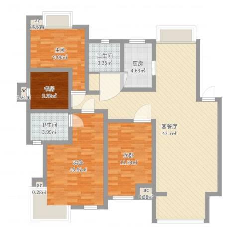 阳湖名城4室2厅2卫1厨124.00㎡户型图