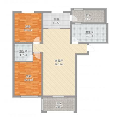 中环滨江花园2室2厅2卫1厨124.00㎡户型图