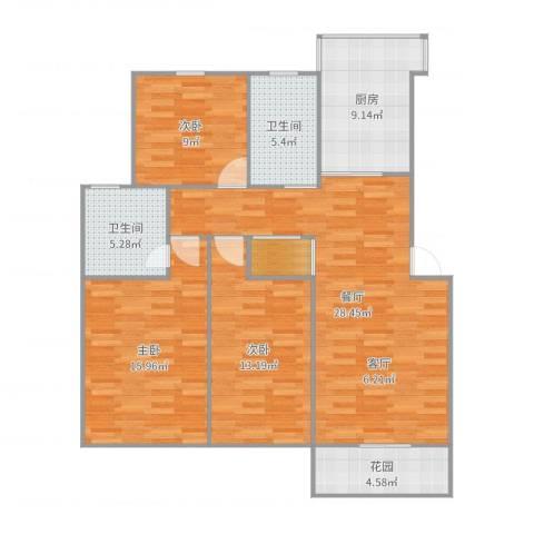 桃浦新家园3室1厅2卫1厨116.00㎡户型图