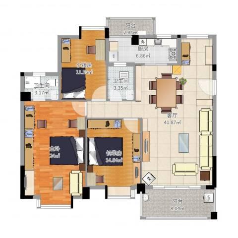 西堤国际花园1室1厅2卫1厨132.00㎡户型图