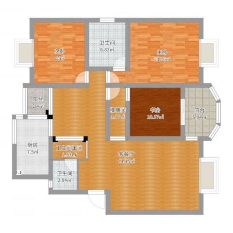 文化名园3室2厅2卫1厨147.00㎡户型图