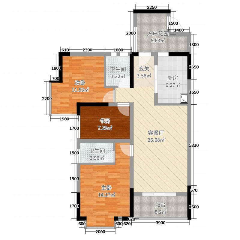 三祺澜湖国际97.00㎡一期2-01户型3室3厅2卫1厨