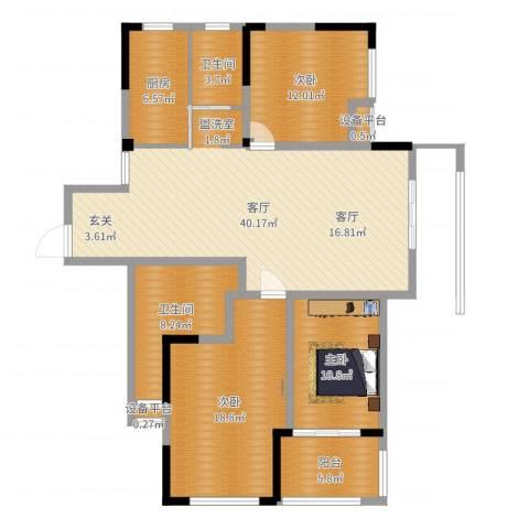 平湖观邸3室1厅2卫1厨134.00㎡户型图