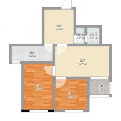 管庄西里2室4厅1卫1厨55.53㎡户型图
