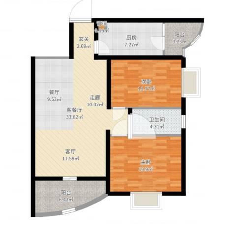 颐美园2室2厅1卫1厨101.00㎡户型图