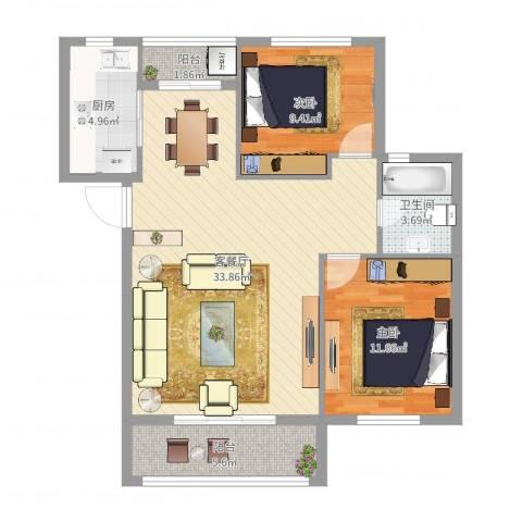 万科金色水岸2室2厅1卫1厨89.00㎡户型图