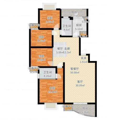 颐美园4室2厅2卫1厨150.00㎡户型图