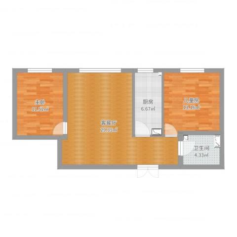 延庆上都首府小区2室2厅1卫1厨81.00㎡户型图