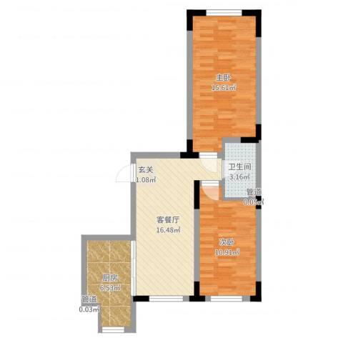 天富北苑2室2厅1卫1厨52.78㎡户型图