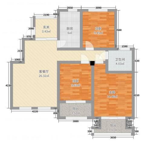 星河蓝湾3室2厅1卫1厨100.00㎡户型图