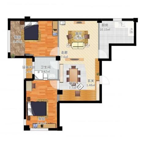 中河名庭2室2厅1卫1厨121.00㎡户型图