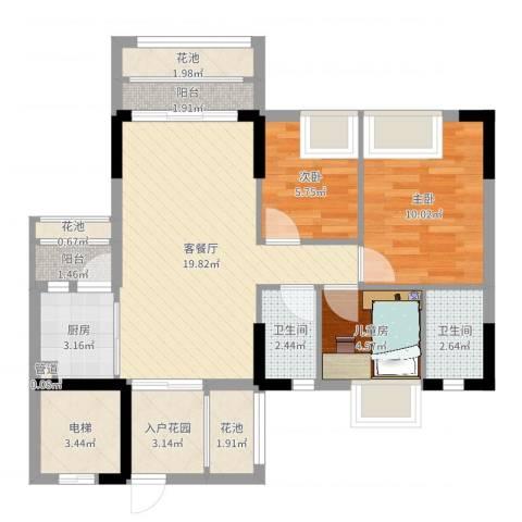 东海国际花园3室2厅2卫1厨79.00㎡户型图
