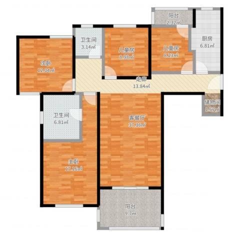 海上国际花园3室2厅2卫1厨130.00㎡户型图
