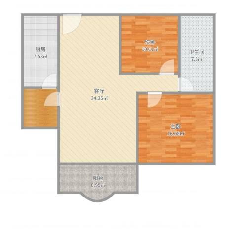 白云花园2室1厅1卫1厨102.00㎡户型图