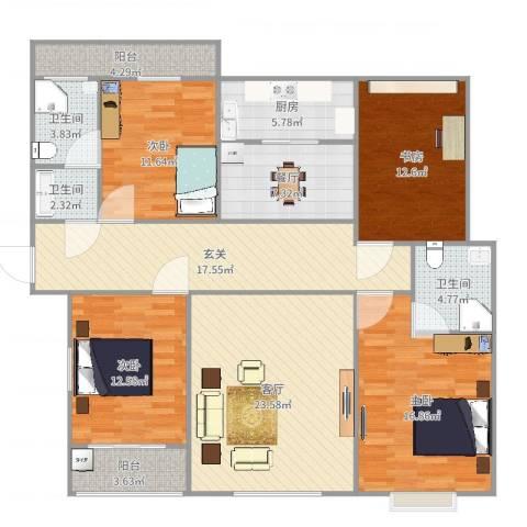 翠堤春晓4室2厅3卫1厨158.00㎡户型图