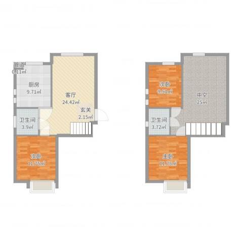 美室层双3室1厅2卫1厨125.00㎡户型图