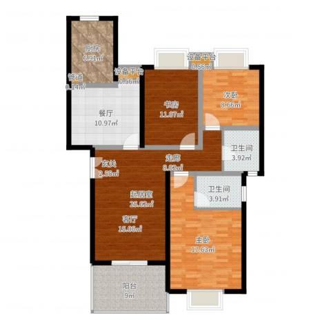 楼观古镇3室1厅2卫1厨124.00㎡户型图