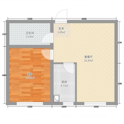高新CBD1室2厅1卫1厨78.00㎡户型图