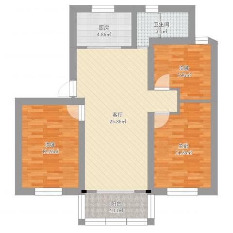方舟园三村3室1厅1卫1厨87.00㎡户型图